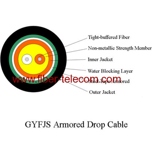 Armored fiber optic cable 2-cores
