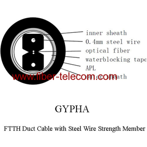 FTTH Duct Cable 2 Core with Steel Wire Strength Member