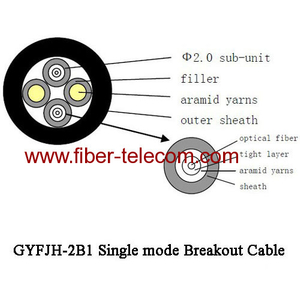 GYFJH-2B1 Single mode breakout Cable 7.0mm LSZH