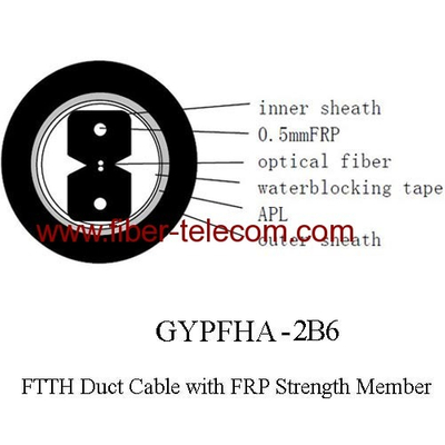 FTTH Duct Cable 2 core with 0.5mm FRP strength member